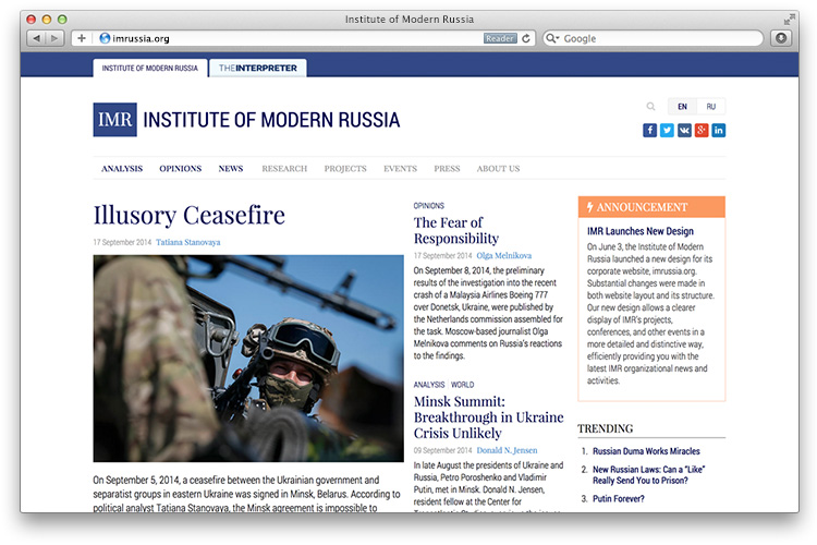 IMR Relaunches imrussia.org